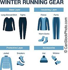 correndo, set, vestiti inverno