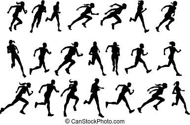 correndo, silhouette, corridori