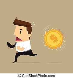 correndo, soldi, attacco, uomo affari