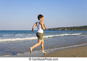 correndo, spiaggia, giovane ragazza