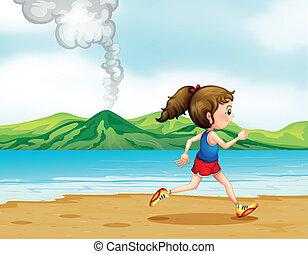 correndo, spiaggia, lungo, ragazza