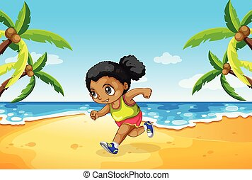 correndo, spiaggia, ragazza