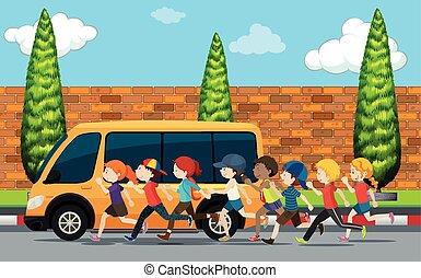 correndo, strada, bambini