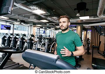 correndo, suo, 30s, treadmill., uomo