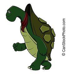 correndo, tartaruga, cartone animato, illustrazione
