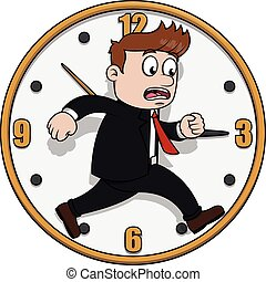 correndo, uomo, affari, tempo