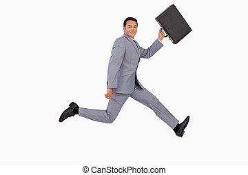 correndo, uomo affari, valigia, ritratto