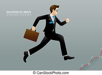 correndo, uomo affari
