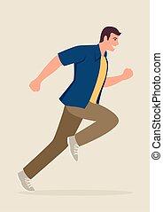 correndo, uomo, cartone animato, illustrazione