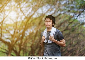 correndo, uomo, parco, giovane, idoneità