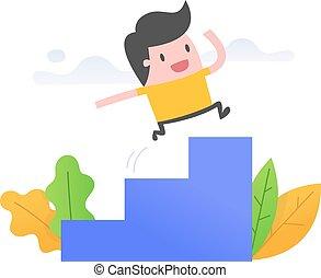 correndo, uomo, scale, giovane