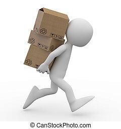 correndo, uomo, scatole, parecchi