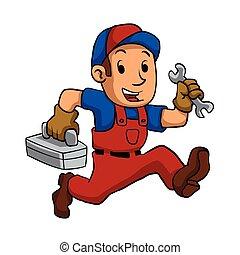 correndo, uomo tuttofare, toolbox