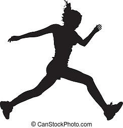correndo, vector-, ragazza