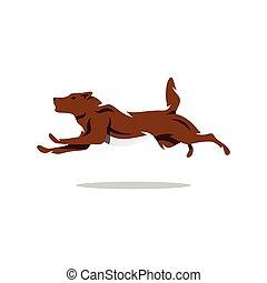 correndo, vettore, illustration., cartone animato, cane