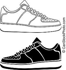 correndo, vettore, scarpa nera, attivo, scarpe tennis, sport, icona