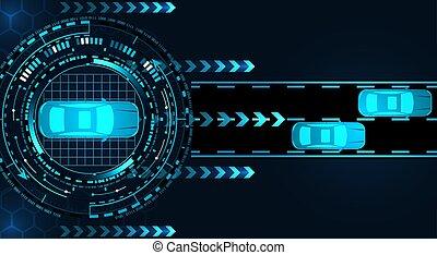 correndo, vista, gráfico, diagnostics., ilustração, carro., monitor., gui, service., topo, car