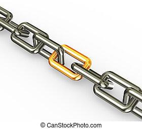 corrente, com, dourado, link