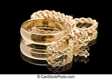 corrente, e, anel, ligado, pretas
