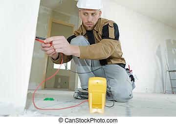 corrente, elétrico, inspeccionando