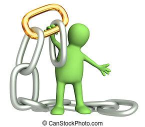 corrente, ouro, link