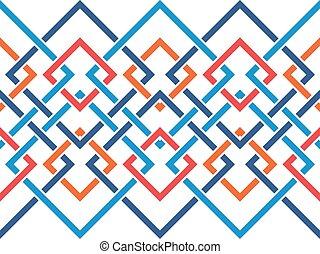 corrente, padrão, corners., seamless, cruzar-se, formas, muitos, geomã©´ricas, linhas