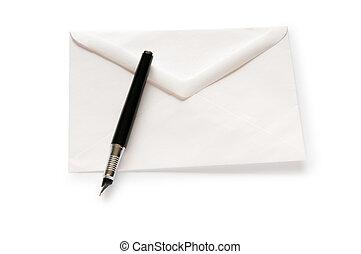 correo, blanco, concepto, sobre, aislado