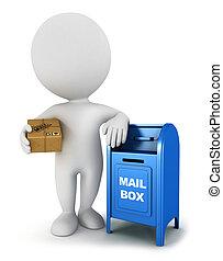 correo, blanco, paquete, 3d, gente