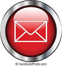 correo, botón, frontera, plata, rojo