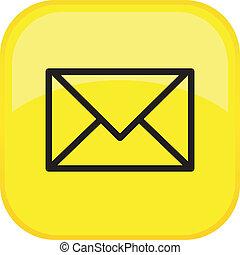 correo, botón, vector