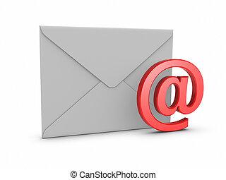 correo, con, símbolo de @