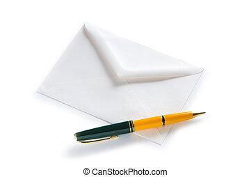 correo, concepto, con, sobre, aislado, en, el, blanco