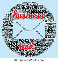 correo, concepto, palabra, empresa / negocio, nube