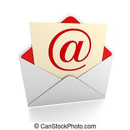 correo e, sobre, 3d, ilustración