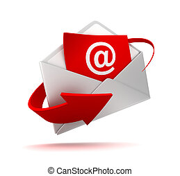 correo e, y, sobre, 3d, ilustración