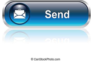 correo, icono, botón