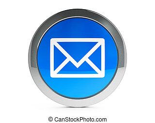 correo, icono, con, toque de luz