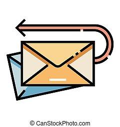 correo, linecolor, vuelto, ilustración