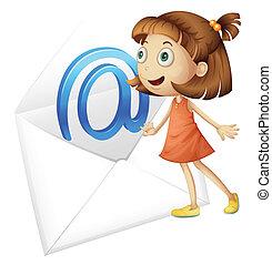 correo, niña, envolver
