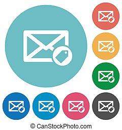 correo, plano, redondo, tagging, iconos
