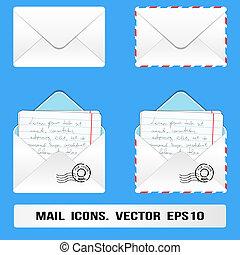 correo, set., vector, e, iconos