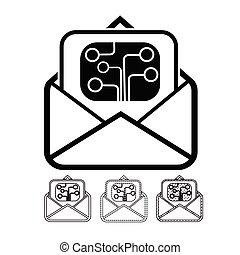 correo, vector, email, icono
