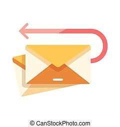 correo, vuelto, ilustración, plano