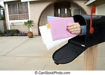 correo, y, caja correo