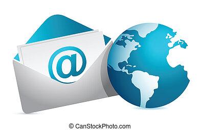 correo, y, globo, ilustración, diseño
