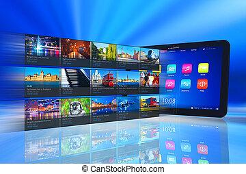 correr, medios, computadora personal tableta