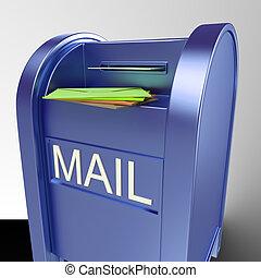 correspondência, entregado, mostrando, correio, caixa postal