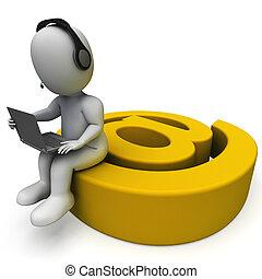 correspondance, ordinateur portable, signe, e-mail, email, spectacles