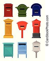 correspondance, plat, ensemble, lettres, newspapers., coloré...