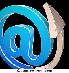 correspondance, postez électronique, at-symbol, spectacles
